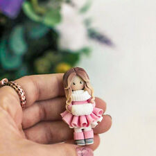 Girl OOAK DOLL brooch HANDCRAFTED Fashion polymer clay kids cute Pin HANDMADE
