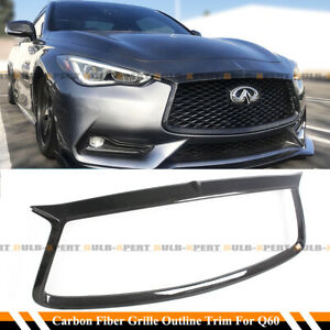 FOR 2017-2021 INFINITI Q60 CARBON FIBER FRONT GRILL OUTLINE TRIM COVER OVERLAY