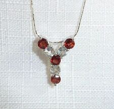 """2.00ct Natural Garnet & White Topaz Italy 925 Sterling Silver """"Y"""" Necklace"""