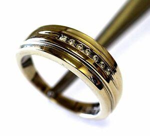 14K white gold mens round diamond VS2 G .12ct wedding band ring 7.5g 9