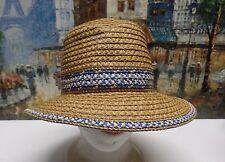 Eric Javits Big Deal Fedora Hat in Natural/Blue - $165