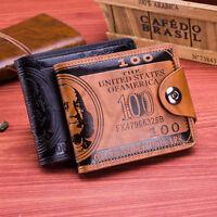 Homme Cuir Porte-Monnaie US Dollar Imprimé Retro Pliable Portefeuille Cartes