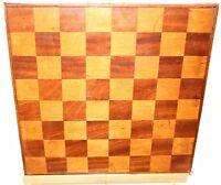 "Old English Chess / Checkers Game Board Hand Made Wood Inlay Patina 16"" x 16"""