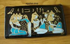 Egyptian Leather Wallet/Purse -Gold Embossed Pharaonic Scene - BLACK - NEW