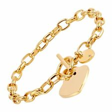 Italian-Made Heart Charm Toggle Link Bracelet in 18K Gold-Plated Bronze, 8