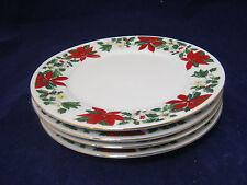 "Gibson POINSETTIA HOLIDAY 4-7 1/2"" Salad Plates Christmas Holiday Dinnerware EC"
