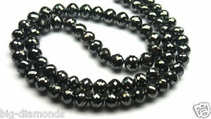 50.00Ct Sparkling Shinning Micro Faceted Black Diamond Beads Necklace