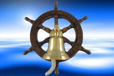Schiffssteuerrad Holz mit Messing Glocke D.38cm Dekoration Mahagoni Holz