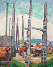 Totem Poles, Kitseukla  by Emily Carr   Giclee Canvas Print Repro