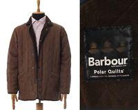 Mens BARBOUR Duracotton Polarquilt Jacket Quilted Coat Brown Size M