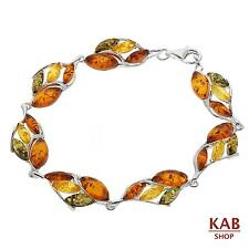 MULTI-COLOUR BALTIC AMBER STERLING SILVER 925 BRACELET BEAUTY STONE, KAB-238