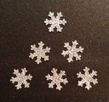 50 Small Silver Snowflake Diamante Glitter christmas cardmaking scrapbook