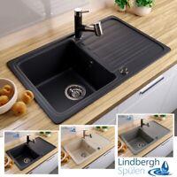 """LINDBERGH® Granit Spüle """"LUN"""" + Siphon Einbauspüle Küchenspüle Spülbecken"""