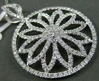 ESTATE LARGE 1.63CT DIAMOND 18KT WHITE GOLD 3D ROUND FLOWER FLOATING PENDANT
