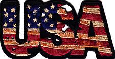 "Vintage Look ""Usa"" - Iron On Patch-American Flag-Pride-Biker-Vest-Pat riotic"