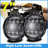 2x 7inch H4-H13 High-Low Beam Round 4x4 DRL Headlight Offroad LED Driving Light
