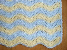 Crochet baby blanket blue/yellow rick-rack supersoft shimmer yarn