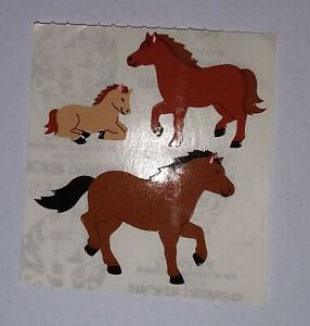 🦁Sandylion 1 Abriss Pferde Kromekote Papier Scrapbooking Sticker 90er🦁