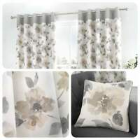 Fusion ADRIANA Natural Floral 100% Cotton Eyelet Curtains & Cushions