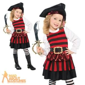 Girls Red /& Gold Pretty Pirate Book Day Fancy Dress Costume Outfit 3-10 years
