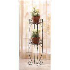 Two-Tier Plant Metal Stand Lacy Scrolls