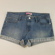 Womens Candies Denim Jean Shorts Light Blue Size 9 Embellished Cuffed