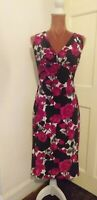 PHASE EIGHT PINK WHITE BLACK FLORAL ROSE RUCHED PENCIL BODYCON DRESS sz18