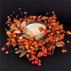 """Artificial Harvest Berry and Fruit Wreath / Candle Ring 18"""" - Autumn Decorations"""