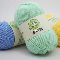 DK Knit Crochet cashmere Soft Skin cotton Wool yarn Chunky 46 Colors 50g Ball
