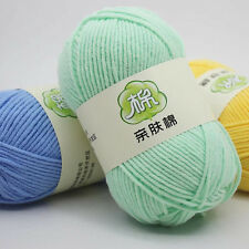 DK Knit Crochet cashmere Soft Skin cotton Wool yarn Chunky 46 Colors 50g Ball