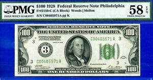 FR-2150-C - 1928 $100 FRN (5th Finest - Philadelphia District) PMG 58EPQ #5971-