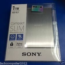 New Sony HD-SL1 Slim External Portable Hard Drive 1TB 1 TB for Mac Windows Silve