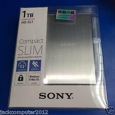 New Sony HD-SL1 Slim External Portable Hard Drive 1TB 1 TB for Mac Windows Silve
