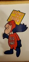 "VINTAGE BUD MAN 5"" x 9"" DECAL STICKER Stamp Out Thirst Budweiser 1970's"