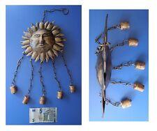 Pendente in metallo sole bifrontale 5 campanelle, artigianato indiano