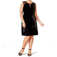 Dress 3X Plus NY Collection $70 NWT Black Velvet Lace-Trim Fit & Flare TM139