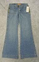 B52 Damen Hüft-Jeans Bootcut Blau Gelb bestickt W26/L30 Gr. 34 ungetragen NEU
