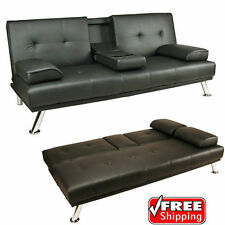 Sofa Bed Black Faux Leather Click Clack Double Settee 2 3 Seater Modern Couch