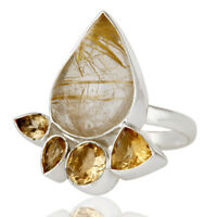 Natural Golden Rutile And Citrine Gemstone 925 Sterling Fine Silver Rings
