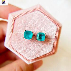 2021 Paraiba Tourmaline 925 Sterling Silver Minimalist Stud Earrings For Women