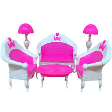6pcs Sofa Chair Set Couch Table Lamp Set Toy For Barbie Dolls House Furniture UK