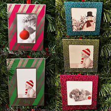 Christmas Holiday Tree Metal Photo Picture Frame Ornament Pink Blue Green Gift