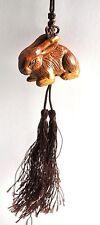 Vintage Rabbit Bunny BOXWOOD Natural Wood Hand Carved Figurine Charm Hanging