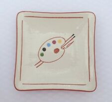 Miniature Redware Sgraffito Plate RARE Artist's Palette PA Artisan Alice Spayd