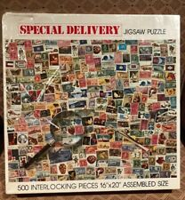 "POSTAGE STAMP Puzzle ""SPECIAL DELIVERY"" 500 piece jigsaw puzzle made in USA NIB"