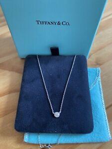 Tiffany Platinum 0.24  Carat Brilliant Cut Solitaire Diamond Necklace