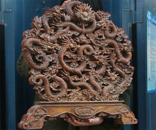 """Old China boxwood wood Carved 9 Dragon play beads Fengshui folding screen""""九龍献寶"""""""