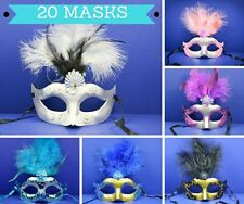 Lot of 20 Mixed Feather Mask Masquerade Mardi Gras Quince Birthday Costume Party