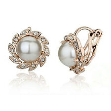 Fashion Women Jewelry Clip On Cream Pearl Rhinestone Crystal Stud Gold Earrings