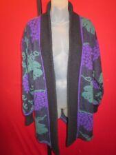 ~~VERA PELLE Vintage 80's Mohair Sweater Coat Art To Wear Sz Medium~ Grape vines